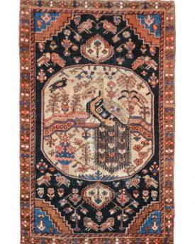 4 by 6 Pesian Bakhtiari Vintage Peacock Design . Wool pile & cotton Foundation