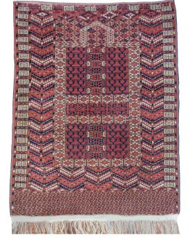 Vintage 4.9 by 3.8 turkeman hachlou hand made area rug