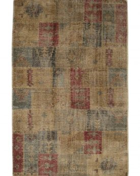 6 by 9 india rug patch work design wool