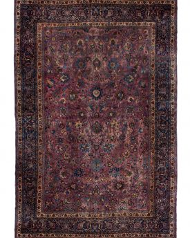 13.4 by 20 oversized purple hand made area rug